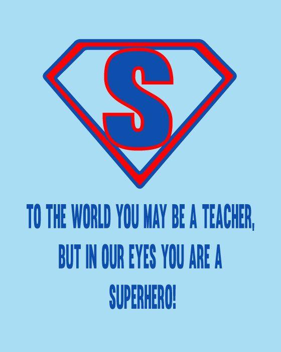 Personalised Super Hero Teacher Appreciation Word by ArtyAlphabet