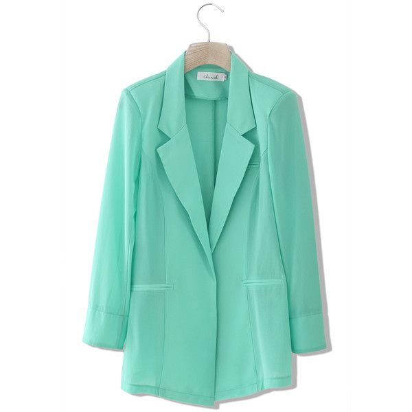 Chicwish Chicwish Mint Green Chiffon Blazer and other apparel, accessories and trends. Browse and shop related looks.