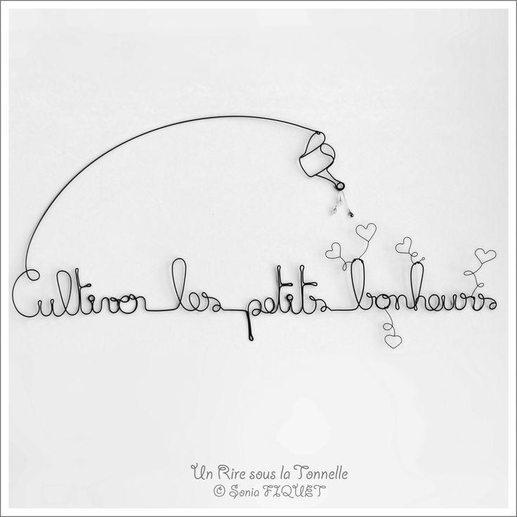 """Décoration fil de fer amour - """"Cultiver les petits bonheurs"""" : Décorations murales par un-rire-sous-la-tonnelle"""