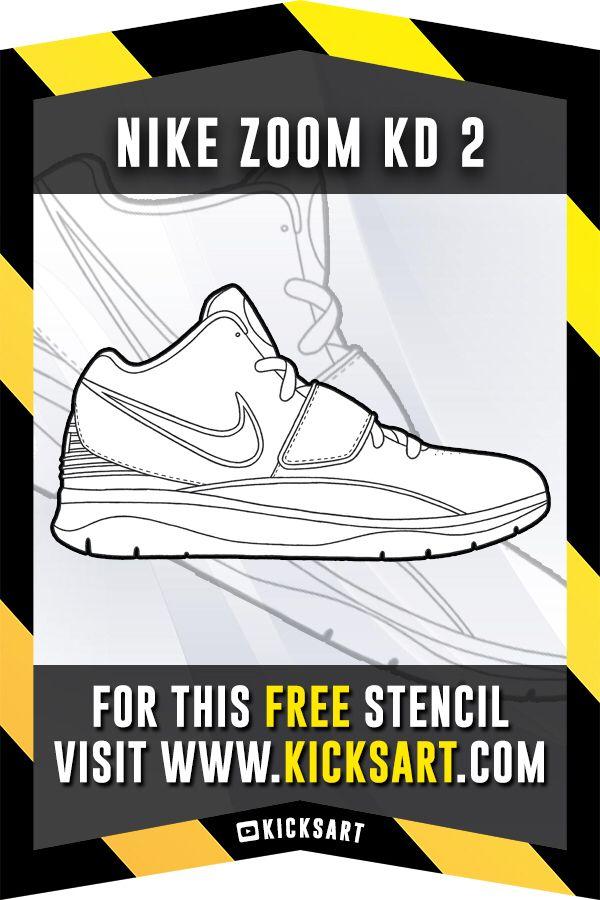 Nike Zoom Kd 2 Stencil Jordan Coloring Book Free Stencils Stencils