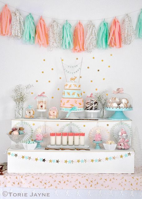 Sparkling Peach & Mint Christmas party ideas by Torie Jayne