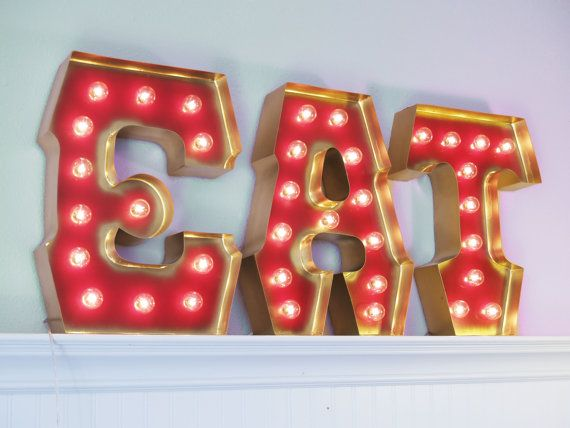 Love :) EAT with GOLD edging and Hollywood LIGHTS by by CarnivalLetters, $327.00