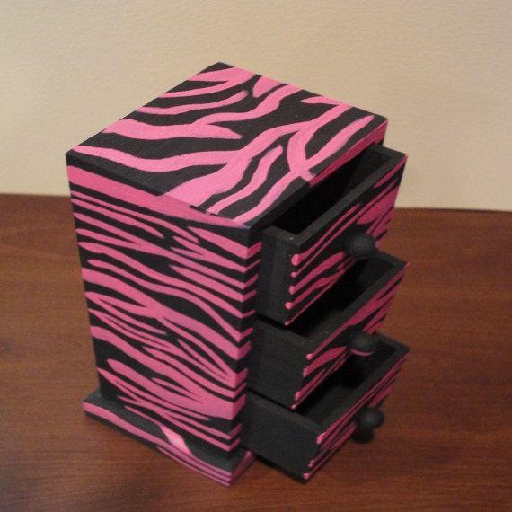 Small Pink And Black Zebra Keepsake And Jewelry Box   Rings, Bracelets,  Storage.
