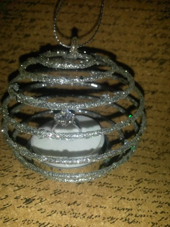 Nieuwigheid kerst bal Ornament opknoping unieke Fancy Engagement Ring Zilver dubbele ring Gift Box belofte ring trouwring vakantie voorstel