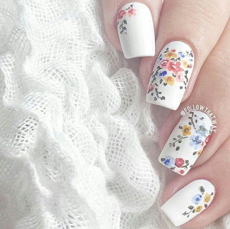 Dainty white nails