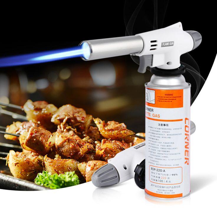 Butane Gas Flame Gun 920 Wind Fully Automatic Electronic Flame Gun Gas Adapter Torch Lighter Hiking Camping Equipment BBQ Tool