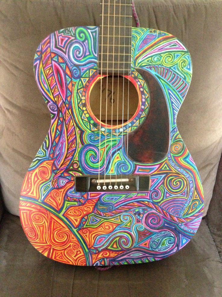 Psychedelic Vintage Harmony Guitar by jennylisa on Etsy