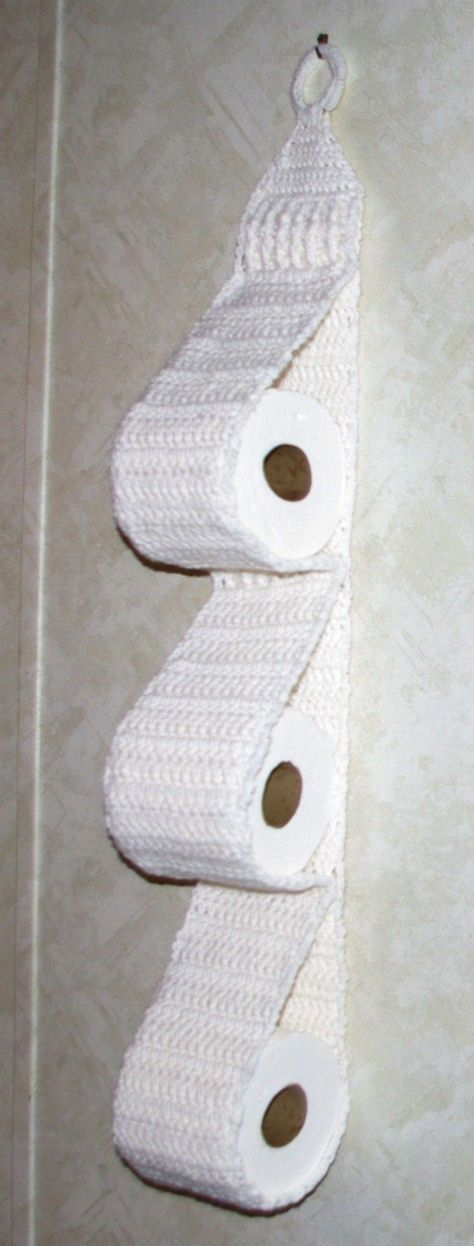 How do you store extra toilet paper in your bathroom?Extra rolls can sometimes take up a lot of space so here is an idea you may like.This crochet toilet paper holder is so handy, pretty and easy to hang on your bathroom wall. It allows you to store 3 extra rolls so they won't sit …