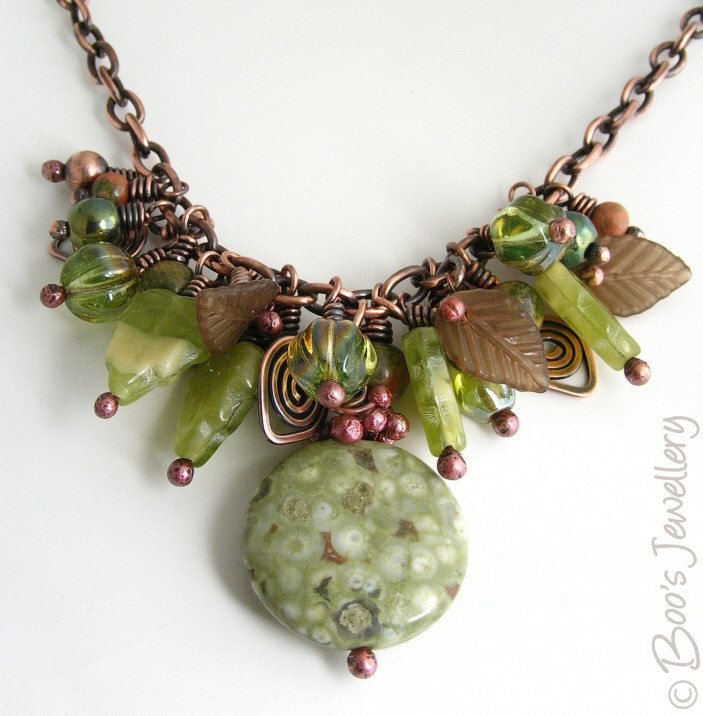 Antiqued copper beaded necklace featuring a cluster