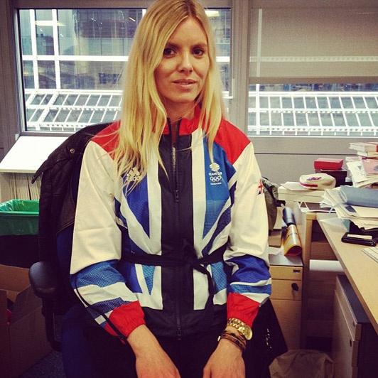 That's Telegraph Fashion editor Belinda White, fooling around in the Adidas by Stella McCartney Team GB jacket.