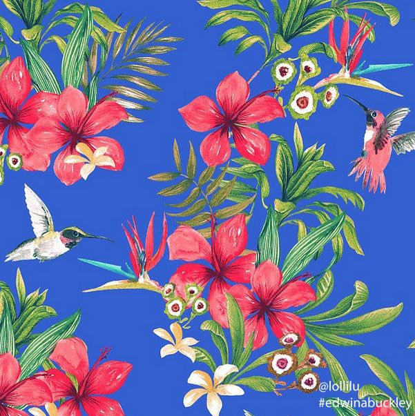 #textile #design #handpainted #watercolou for Ouch! S14 by #edwinabuckley #lollilu #print #pattern #surfacedesign #tropical #yardage