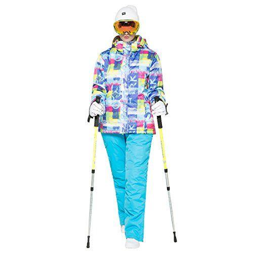 #GWELL Damen Skianzug Schneeanzug / Skijacke mit Kapuze   Skihose mit Träger blau S, 06878331403692