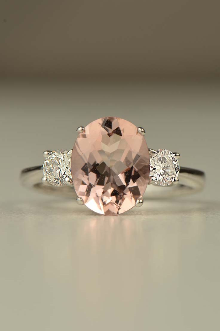 hand made 18ct white gold 2ct Morganite ring with 0.4ct of diamonds http://www.christinesadler.com/engagement-rings/morganite-and-diamond-white-gold-ring