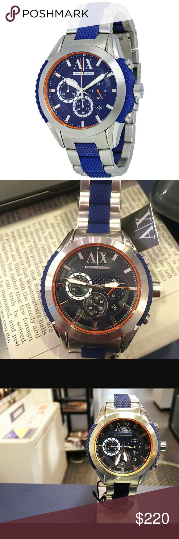 NWT Armani Exchange Chronograph mens watch ARMANI EXCHANGE Chronograph Blue Dial Stainless Steel and Blue Silicone-wrapped Men's Watch.  Firm price firm price firm price firm price   $220.00 . AUTHENTIC WATCH  . AUTHENTIC BOX  . AUTHENTIC MANUAL    SHIPPING  PLEASE ALLOW FEW BUSINESS DAYS FOR ME TO SHIPPED IT OFF.I HAVE TO GET IT FROM MY WAREHOUSE.    THANK YOU FOR YOUR UNDERSTANDING. Armani Exchange  Accessories Watches
