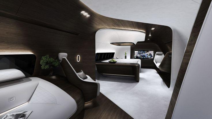 Moderner Luxus hoch über den Wolken von Mercedes-Benz Style und Lufthansa Technik
