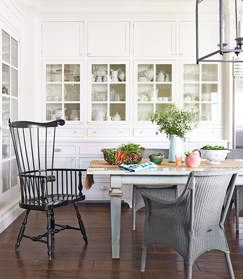 :  Boards, Dining Rooms, Idea, Built In, Country Living, Windsor Chairs, California Farmhouse, Dining Tables, Wicker Chairs