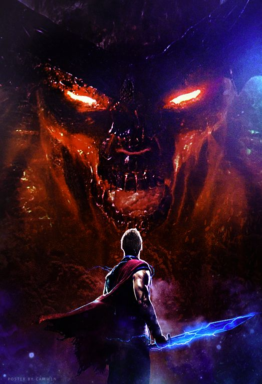 Thor Ragnarok Movie Poster Fan Made with Thor Facing off against Surtur - DigitalEntertainmentReview.com