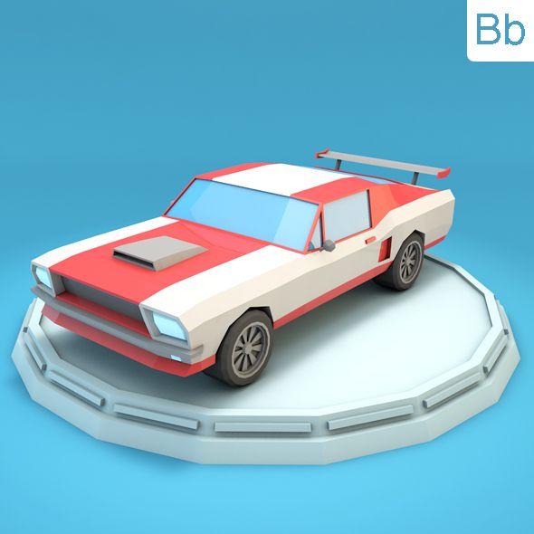 Low Poly Racing Car Mustang