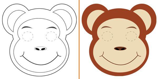 Maschera da scimmia da stampare colorare e costruire