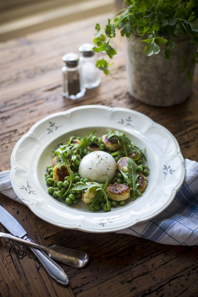 Panfried Gnocchi with garden peas, Buffalo mozzarella and Basil oil | DonalSkehan.com, A lovely alternative to pasta & so simple to make at home.