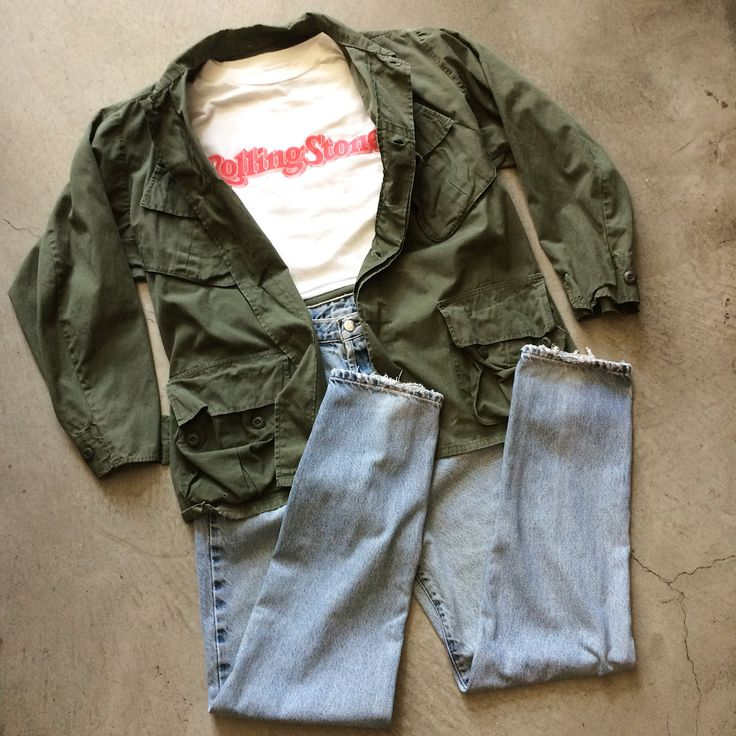 """Rolling Stone mag 20th anniversary cut t, size M 21"""" w 16"""" l, $35+$8 domestic shipping. Nam era slant pocket army jacket, size M, $65+$12 shipping. 90s CK Jeans """"mom jean"""", size 29/33, $42+$12 shipping. Call 415-796-2398 to purchase or PayPal afterlifeboutique@gmail.com and reference item in post."""