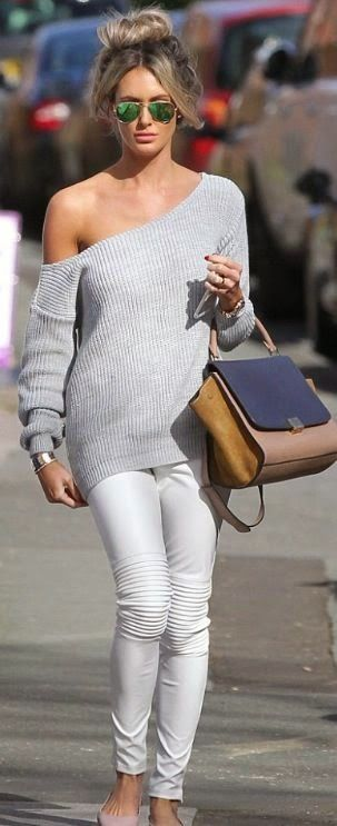 Grey Off Shoulder Top with White Pant   Street Styles