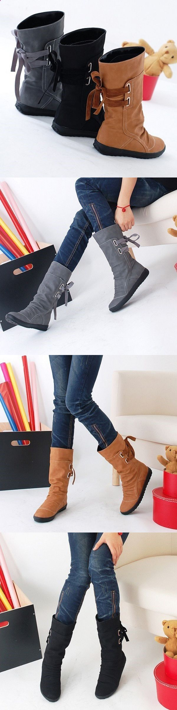 Trend Accesories - US$27.71 Big Size Pure Color Lace Up Mid Calf Flat  Knight Boots Google presented a great variety of new products on October 4  in San ...