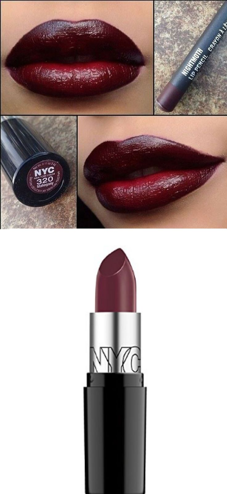 nyc 320 mahogany lipstick nightmoth lip pencil African American makeup