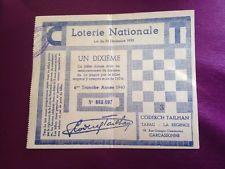 BILLET DE LOTERIE NATIONALE 1940 Carcassonne Tabac
