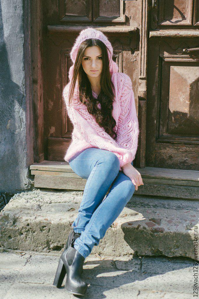 Купить Воздушный восторг - бледно-розовый, свитер, свитер вязаный, свитер женский, свитшот