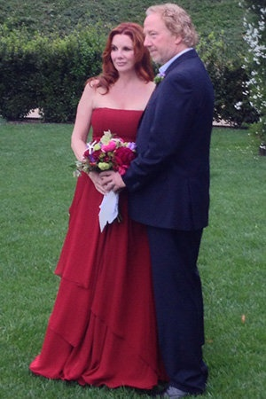 The second (or third) time around can allow you to be more creative with your wedding gown, find your fun side (Courtesy of Melissa Gilbert and Timothy Busfield)