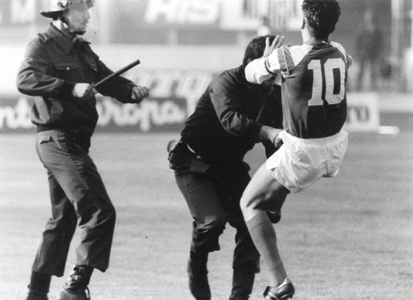 """Zvonimir Boban and the Kick Heard 'Round Croatia.  Read more at """"A Dark Day: Revisited"""":     http://sportaholics--anonymous.blogspot.com/2012/02/dark-day-revisited.html"""