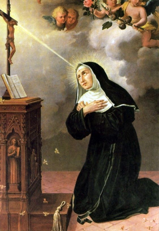 A popular religious depiction of Saint Rita during her partial Stigmata, though historically inaccurate, she is wearing a black Augustinian habit instead of the brown robe and white veil of Monastery of Saint Mary Magdalene from the 13th century.