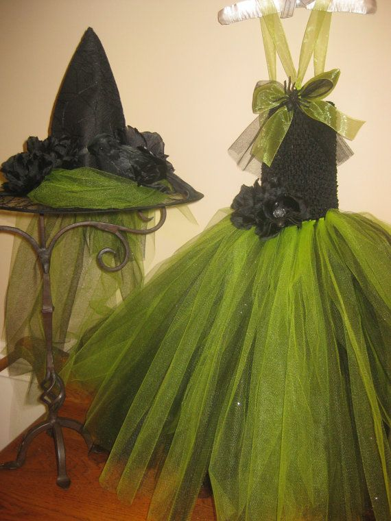 Lime Witch Tutu Dress with Hat by TieDyedFairyTales on Etsy
