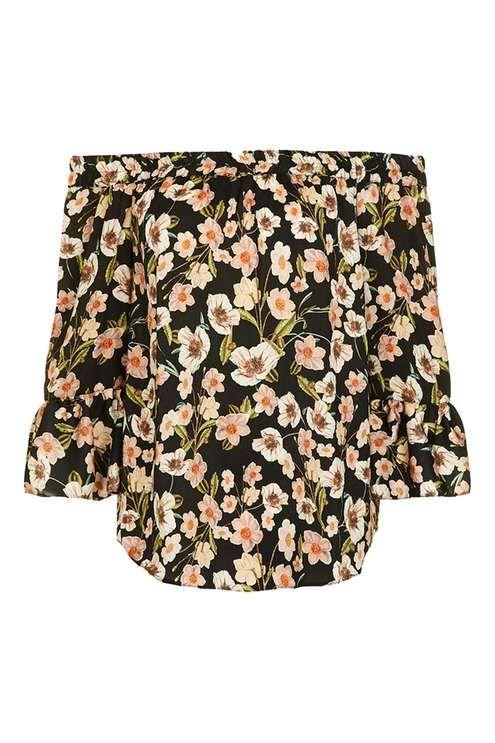 Longline Poppy Floral Bardot Top