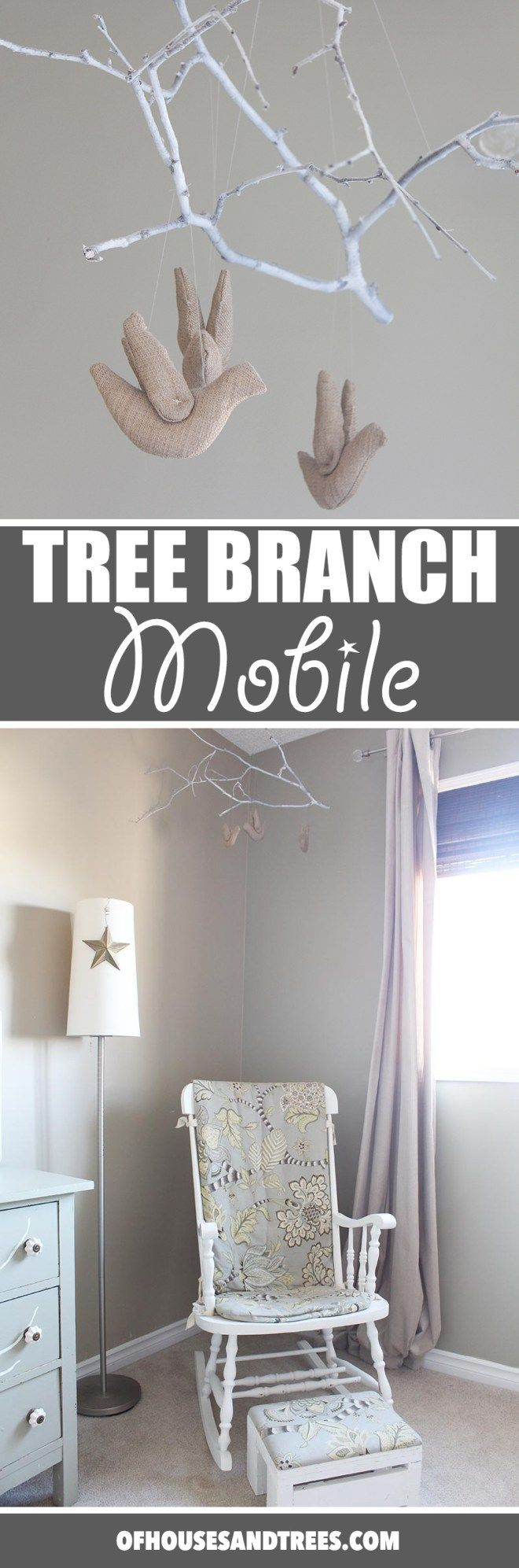 Tree Branch Mobile | Super charming and whimsical DIY tree branch mobile made with a spray-painted poplar branch, stuffed birds and fishing line.