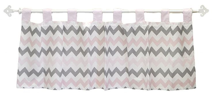 """Coordinating Chevron Baby in Pink Curtain Valance is tailored with chevron fabric & pink tabs.  The  valance perfectly complements our My Baby Sam """"Chevron Baby in Pink"""" range of cot bedding and room decor. Machine washable."""