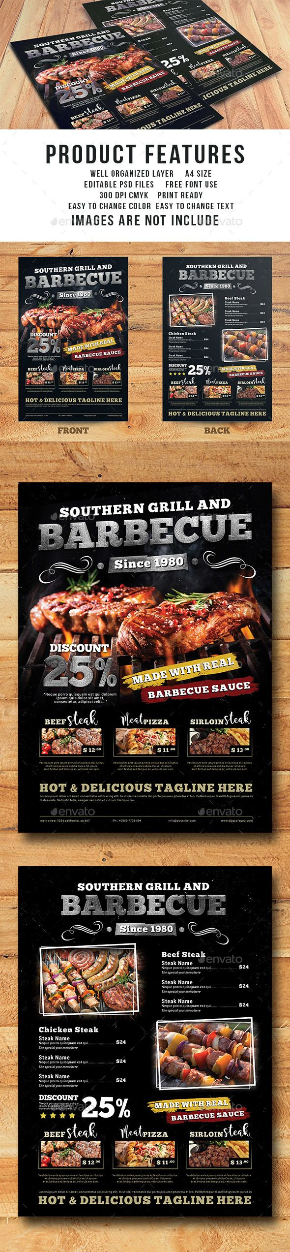 Grill Barbecue Restaurant Menu Template  — PSD Template #meat #chicken • Download ➝ https://graphicriver.net/item/grill-barbecue-restaurant-menu-template/18024411?ref=pxcr