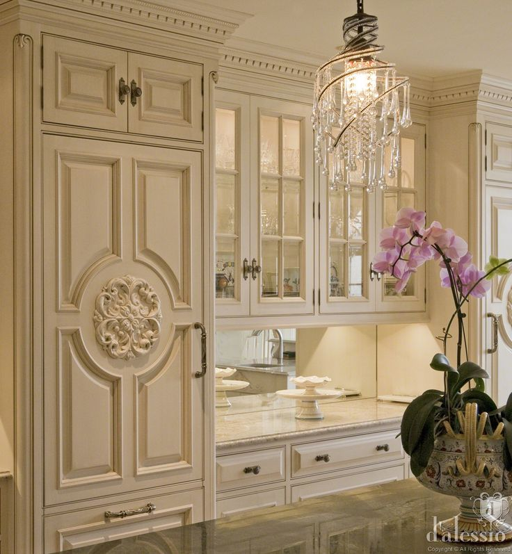 Gorgeous design & millwork details! European Kitchen by D'aslessio