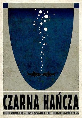 Czarna Hancza - the deepest lake in Poland - Tourist Promotion poster Plakat z nowej serii promocyjnej Polska Zobacz inne plakaty z serii PLAKAT-POLSKA Oryginalny polski plakat autor plakatu: Ryszard Kaja  data druku: 2012 wymiary plakatu: B1 ok. 68x98cm