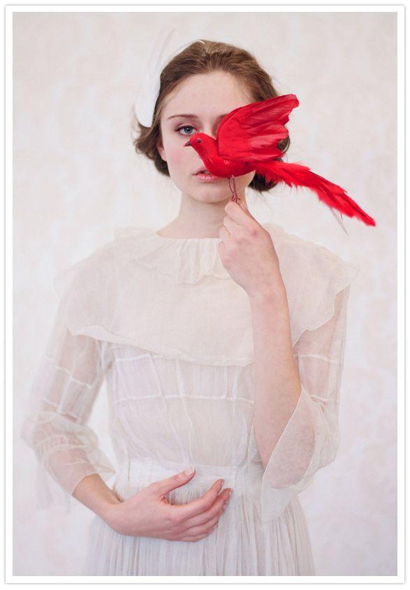crimson + whitePhotos, Handmade Feathers, Inspiration, Elizabeth Messina, Redbirds, Fashion Photography, Layered Cake, Feathers Wings, Red Birds