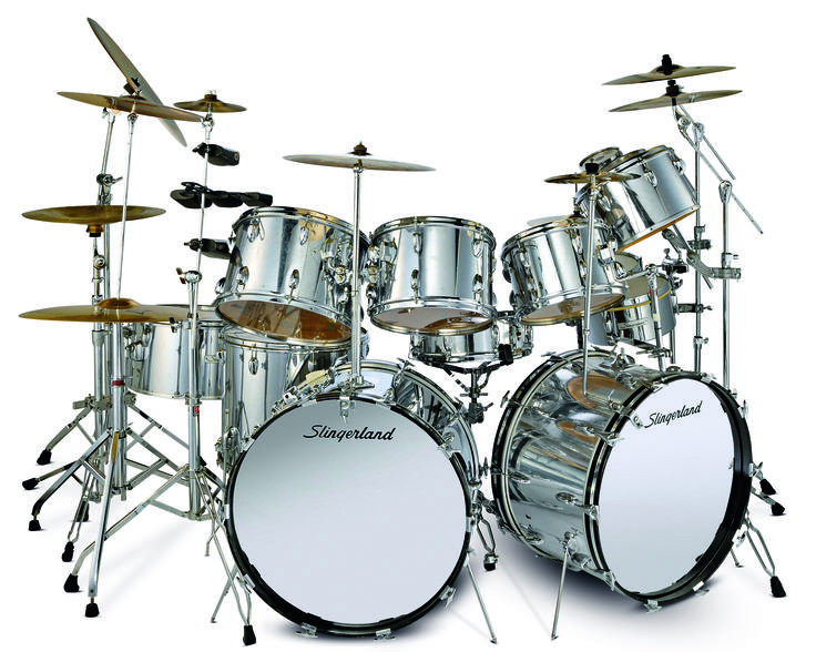 slingerland drums dbl set | Click for full-size version of photo (5 MB): SWEET SILVER DRUM KITS