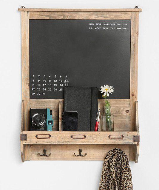 DIY organization chalkboard- wood pallet, chalkboard spray, hardware.