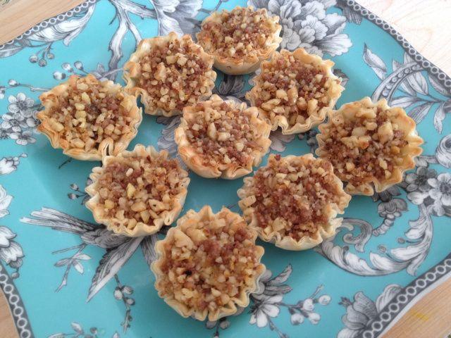 baklava, warm tahini with nuts