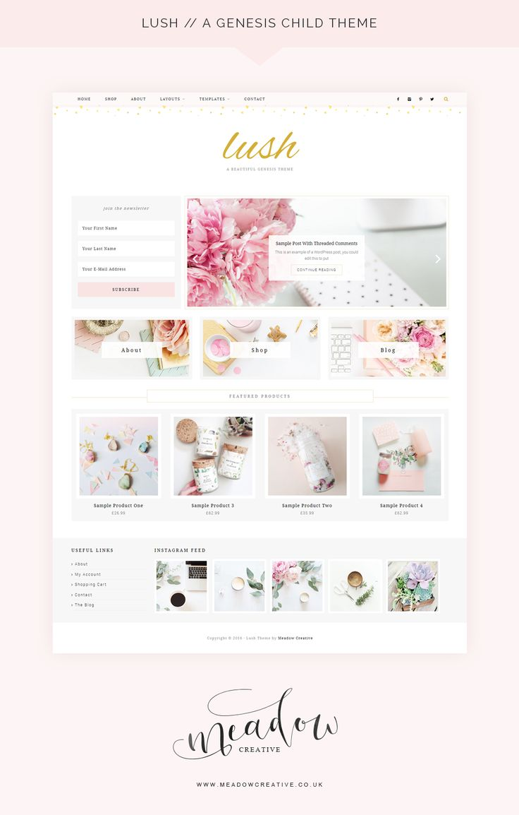 Lush / An Ecommerce Genesis Child Theme from Meadow Creative · WordPress Themes · Genesis Theme · Feminine WordPress Theme · Blog Theme · Blogger · Available at Creative Market @meadowcreative
