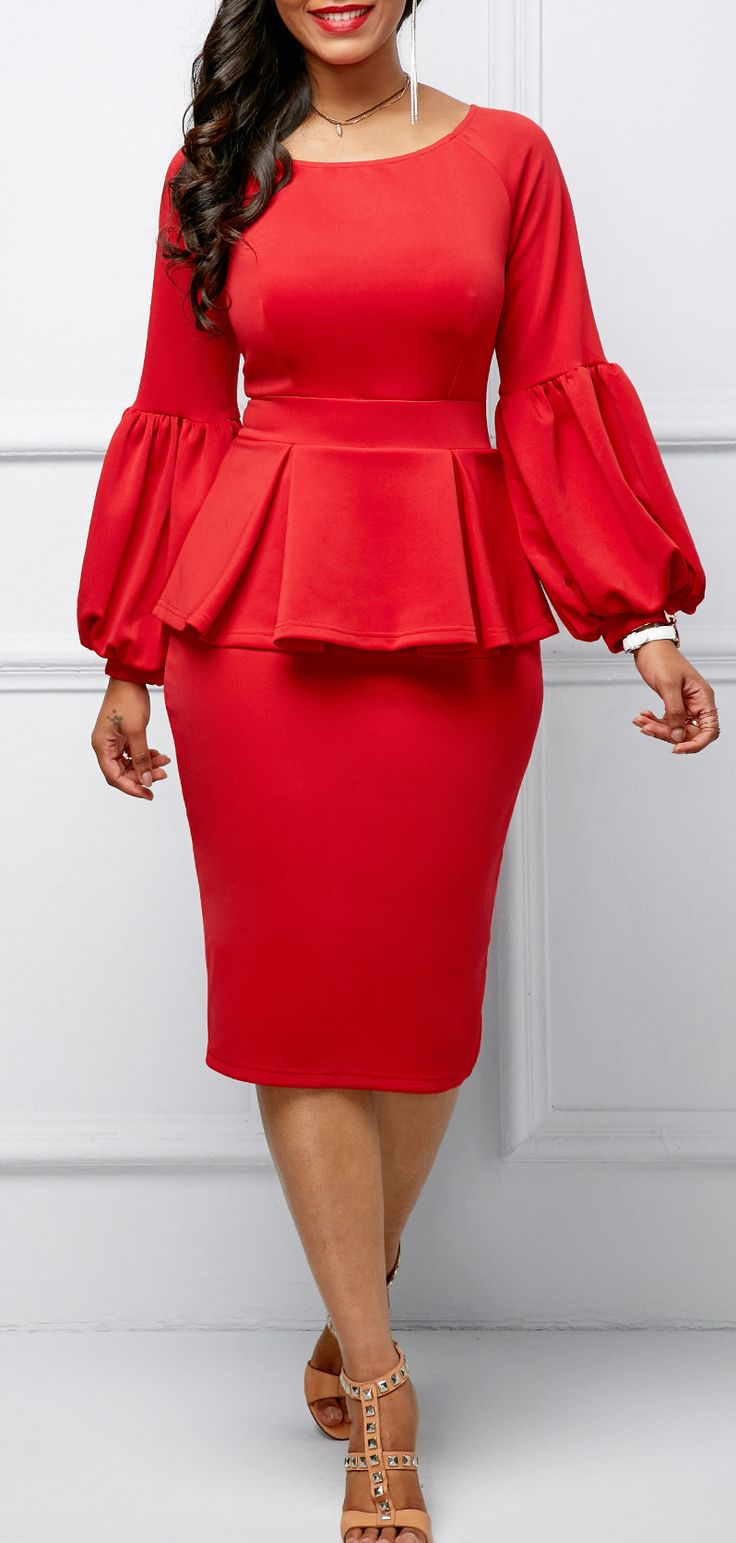 Back Slit Peplum Waist Lantern Sleeve Dress.