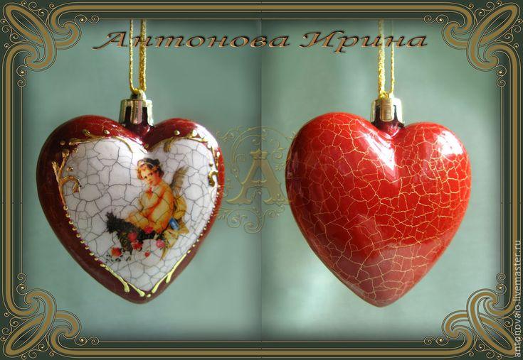 """Купить Набор елочных игрушек-""""Два сердца"""" - елочные игрушки, елочные украшения, подарок"""
