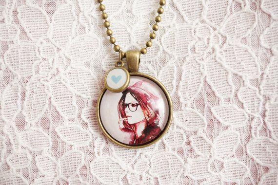 Pink Girl Watercolor Illustration Cabochon by SylvieJewellery, $14.00