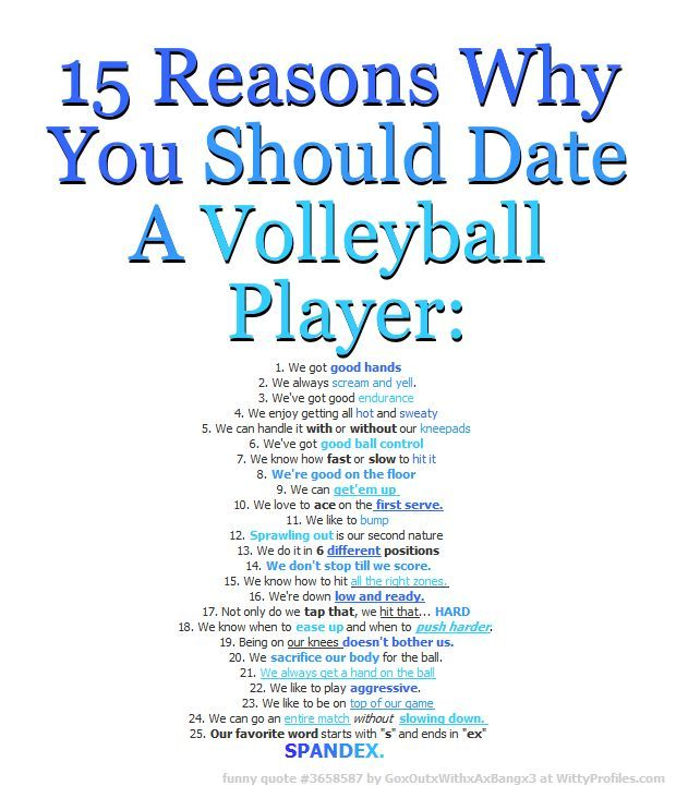 10 reasons why you should date a volleyball player ... 10 Reasons To Play Volleyball