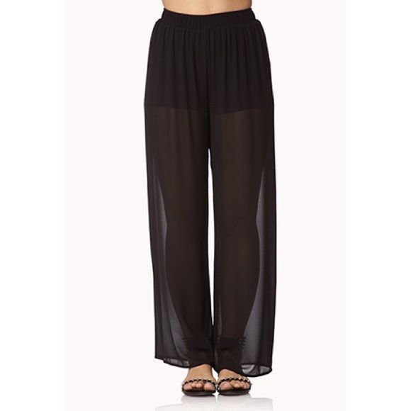 "Black Chiffon Pants Wide-leg chiffon pants. Built in shorts. I'm 5'2"" and have to wear heels with these! Forever 21 Pants Wide Leg"